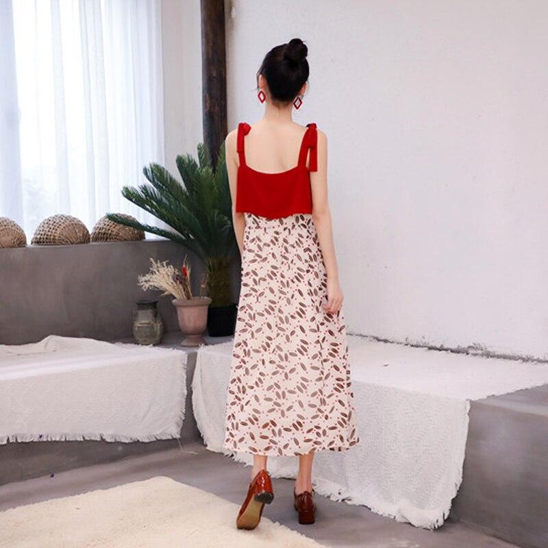 Robe en mousseline de soie florale Chic femmes été bretelles Spaghetti robes rouges femme Streetwear robe Midi - 6