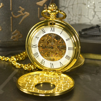 TIEDAN Double Face SteampunkMen Antique Luxury Brand Necklace Chain Gold Pocket & Fob Watch Skeleton Mechanical Pocket Watches
