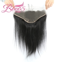 Ear to Ear 13x6 Lace Frontal Closure With Baby Hair Pre Plucked 8 20inch Brazilian Straight Remy Human Hair Free/Middle Part