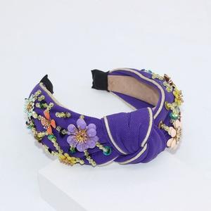 Image 4 - Nieuwe Europese en Amerikaanse Barok rijst kralen hoofdband Bohemian mode bloemen verpakt persoonlijkheid dans hoofdband 950