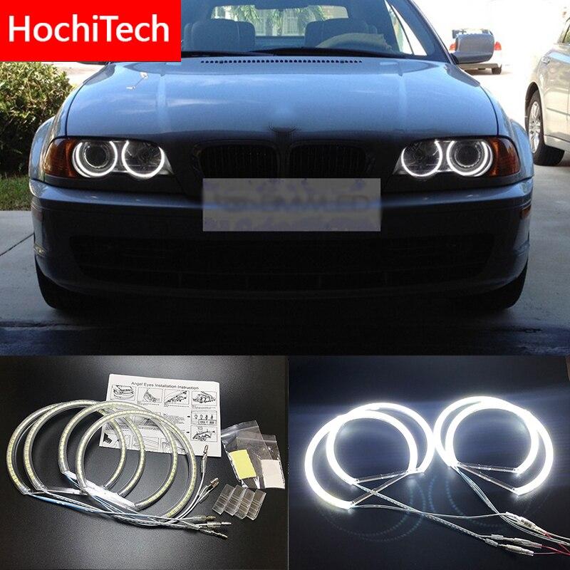 Hochitech para bmw e36 e38 e39 e46 projetor ultra brilhante smd branco led anjo olhos 2600lm 12 v kit anel de auréola luz diurna 131mmx4