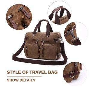 Image 3 - MARKROYAL Leinwand Leder Männer Reisetaschen Hand Gepäck Taschen Männer Duffel Taschen Reise Tote Verstecken Die Schulter Strap Dropshipping