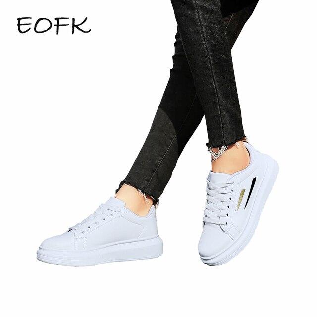 EOFK/женские белые кроссовки; Женская Осенняя модная обувь; новый дизайн; удобная женская повседневная обувь на плоской подошве со шнуровкой