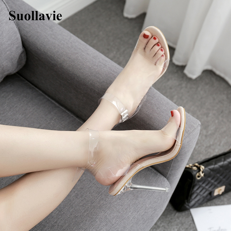 Suollavie Sexy Women's High-heeled Sandals PVC Transparent Thin Heels Sandals Slippers Party Shoes Woman Shoes Size 35-42