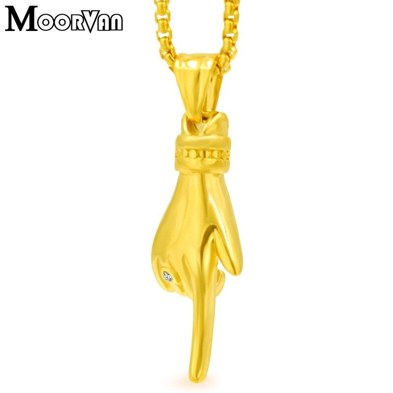 nueva lanzamiento los recién llegados mejor elección Moorvan moda mujer colgante collar forma de dedo Acero inoxidable joyería  hombres propuesta para ...