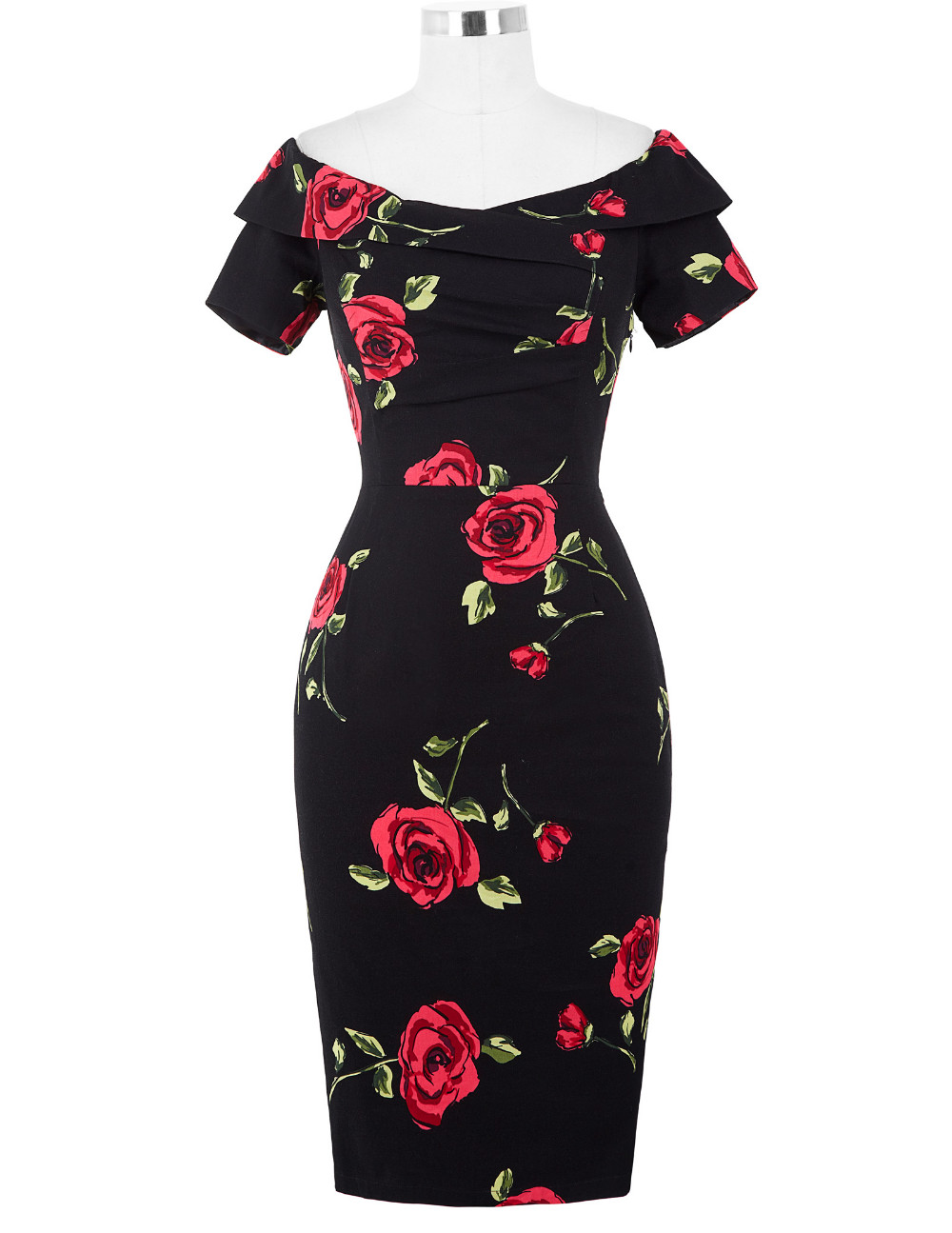 Off Shoulder Floral Swing Bodycon Dress