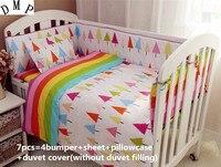 Promotion 6 7PCS Baby Crib Bedding Set For Girls Cartoon Bird Newborn Baby Bed Linen Duvet