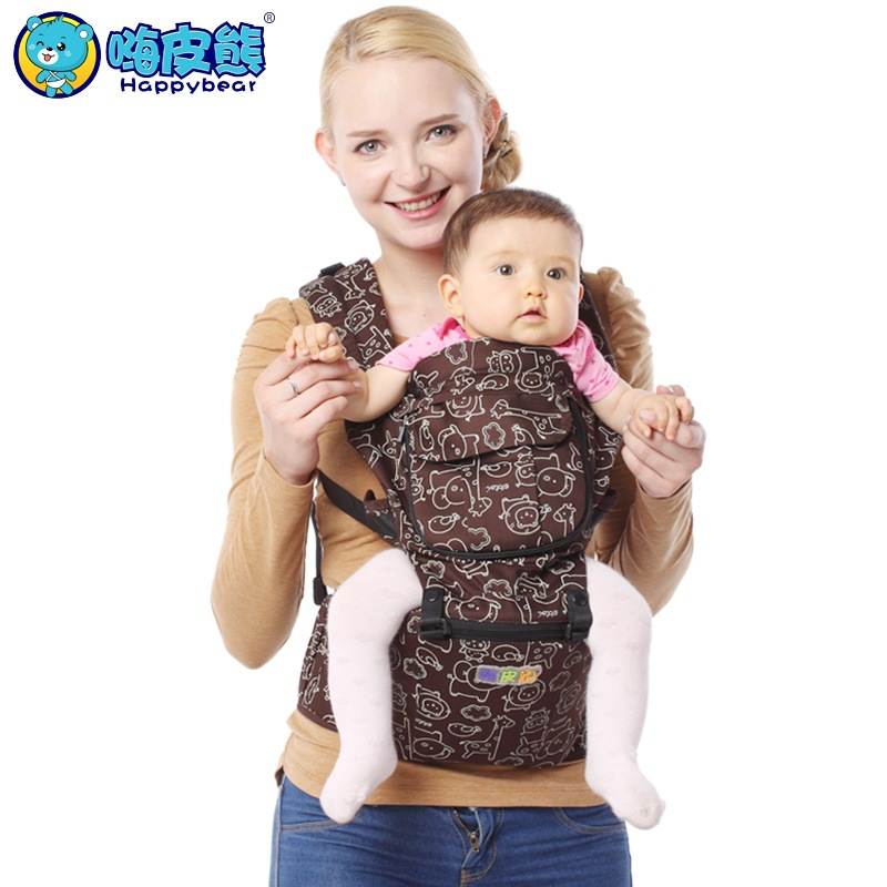 HappyBear New Fashion Baby Carrier Hipseat Baby Backpack Ergonomic Pure Cotton Carrier Multifunctional Baby Newborn Wrap Slings hot baby carrier infant hipseat backpack children s backpack multifunction slings for babies cotton baby hipseat mochilas pt427