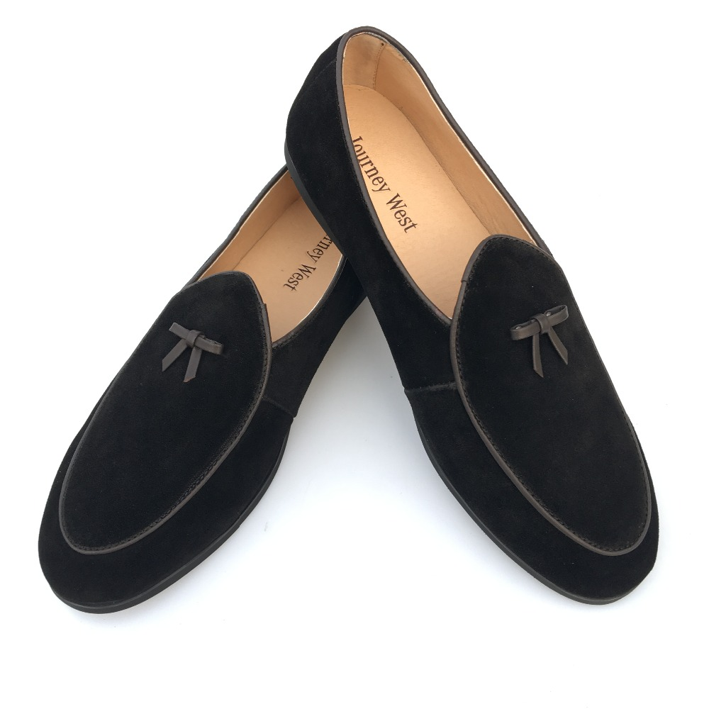 New 2017 Mens Leather Loafers Black Suede Slippers Belgian Dress Shoes Casual Men Loafers With Bowtie Men's Flats Plus Size 7-13