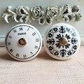 PARIS Francês mobiliário cerâmica lidar com padrão de relógio digital retro mobiliário puxador de gaveta Do Armário cômoda