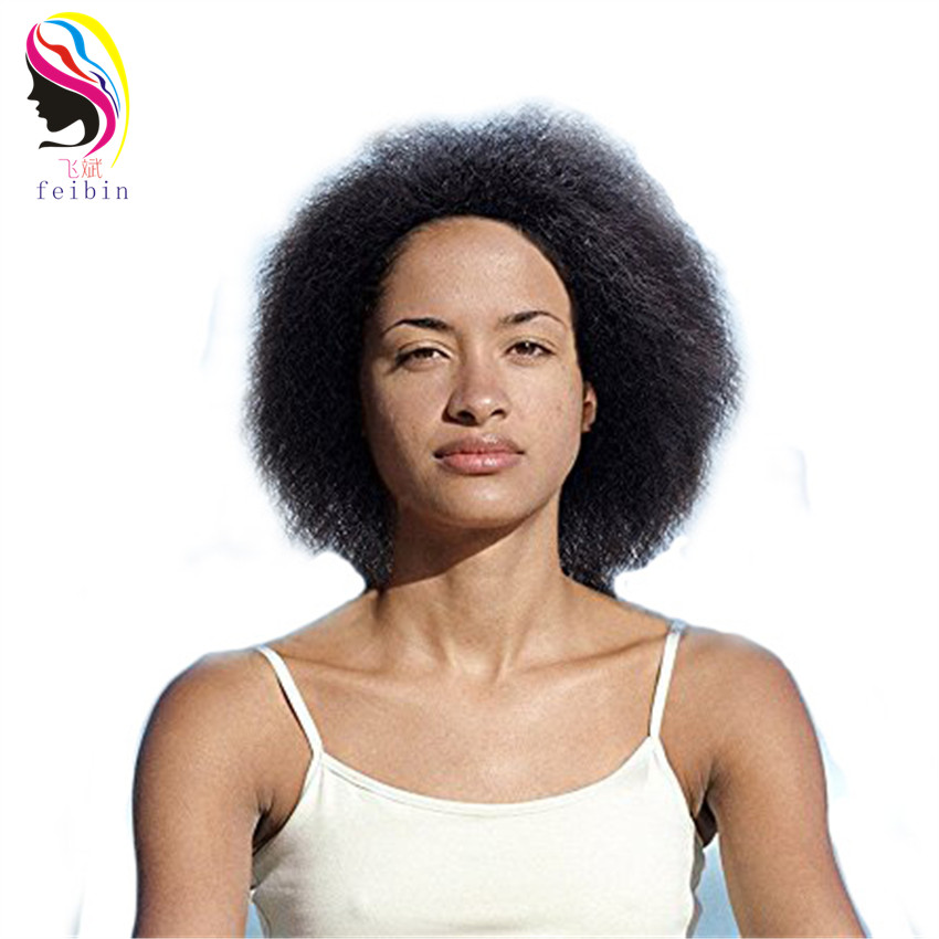 Feibin Short Afro Paryk För Svarta Kvinnor Syntetisk Full Head Kinky Curly Hair 12inches bz02 Gratis frakt