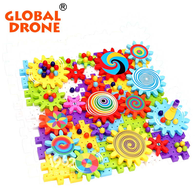 Global Drone Gears Assembled Blocks 118pcs DIY  Plastic Baby Toys Educational Learning Blocks for kids Toys colorful with random