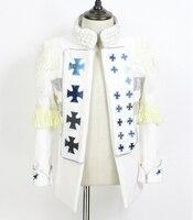 Большие размеры мужские пальто концерт суд платье дворец певец белая куртка Бар ночной клуб DJ Пром карнавальный костюм верхняя одежда Блей