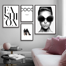 Modern Fashion Girl Canvas Art Posters and Prints Painting Wall Pictures For Living Room Black And White Nordic Home Decor