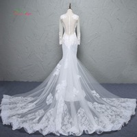 Dream Angel Elegant Detachable Train Taffeta Mermaid Wedding Dress 2017 Scoop Neck Appliques Beading Vestido De
