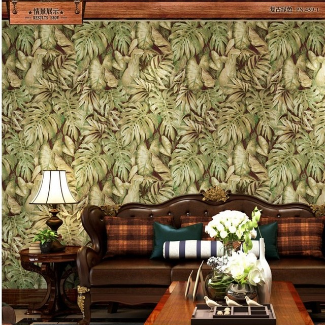 Free Shipping Southeast Asian Banana Leaf Sofa Fence Aisle Personality Background Wallpaper Cafe