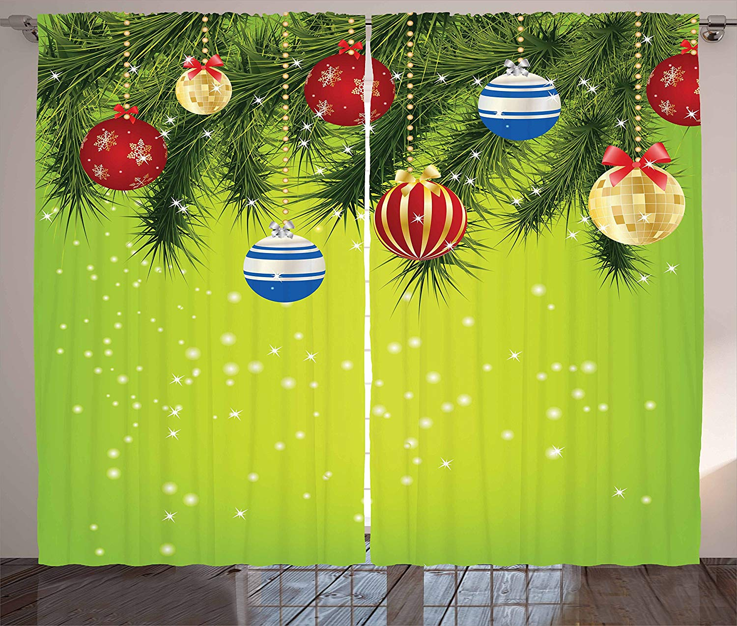 Christmas Kitchen Curtains Hanging Ornaments Branches New Year Celebration Party Magical Xmas Environment Window Decor Panel