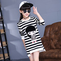 Kids girls spring / autumn striped T-shirt 2017 new baby girls' clothing fashion cartoon girl shirt 4/5/6/7/8/9/10/11/12/13/14