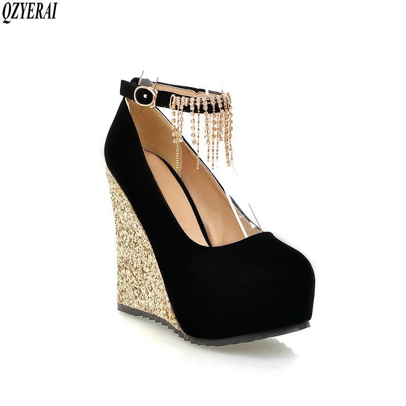 QZYERAI Spring lady temperament water drill metal chain tassel high heel single shoe wear resistant rubber sole women's shoes