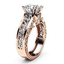 цена на Cuteeco Hollow Flower Zircon Rose Gold Engagement Ring For Female Two-tone Flower Rhinestone Wedding Rings For Women Jewelry
