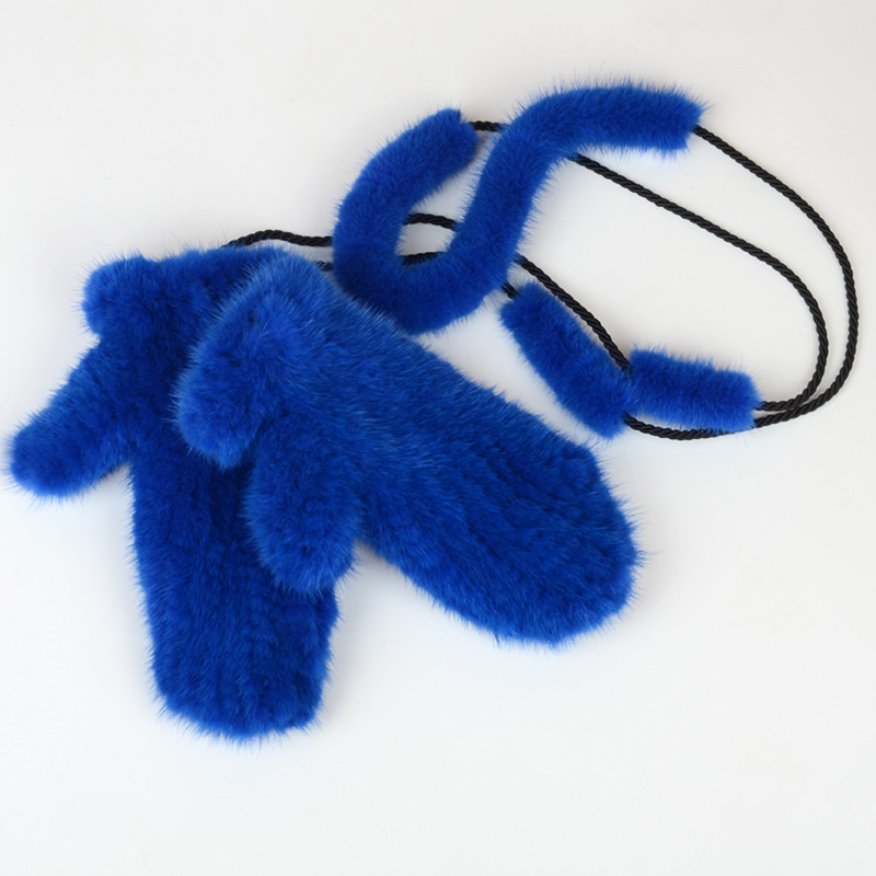 NGSG hiver femmes vison fourrure gants rose véritable épais vison gants mitaines russe solide femelle chaud adulte en cuir gant EA4050-26 - 6