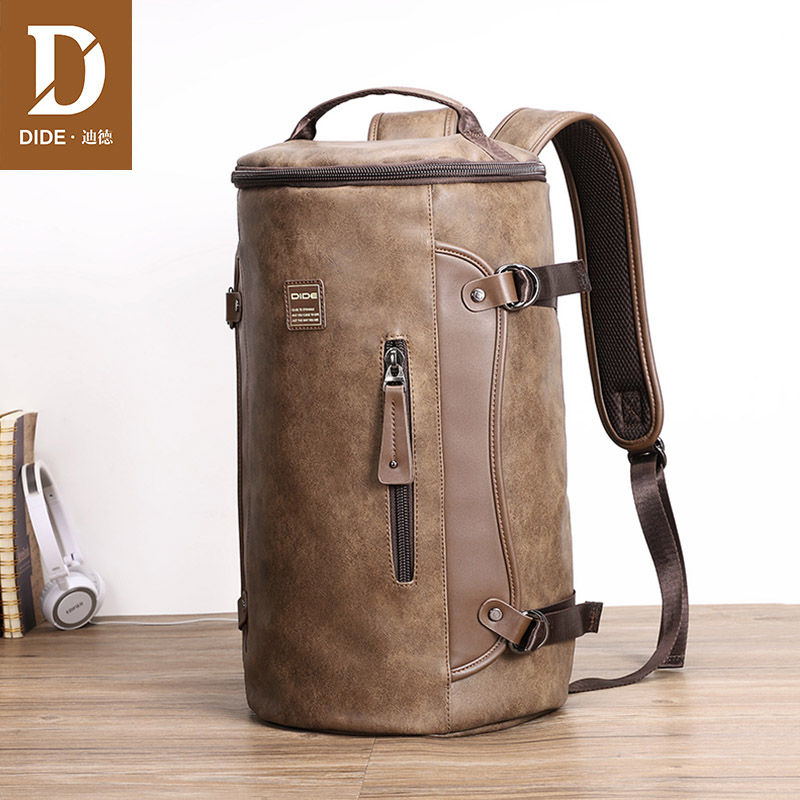 DIDE New Leather Laptop Backpacks For Male Mochila Vintage Casual Travel backpack Bag Preppy Schoolbag Cylindrical