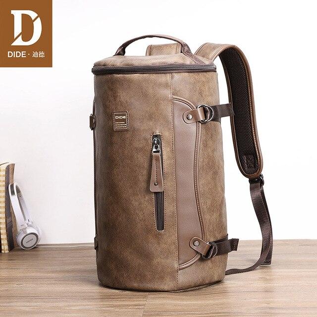 DIDE hommes sac à dos en cuir imperméable sacs à dos dordinateur portable pour homme Mochila Vintage décontracté voyage sac à dos sac Preppy sac décole