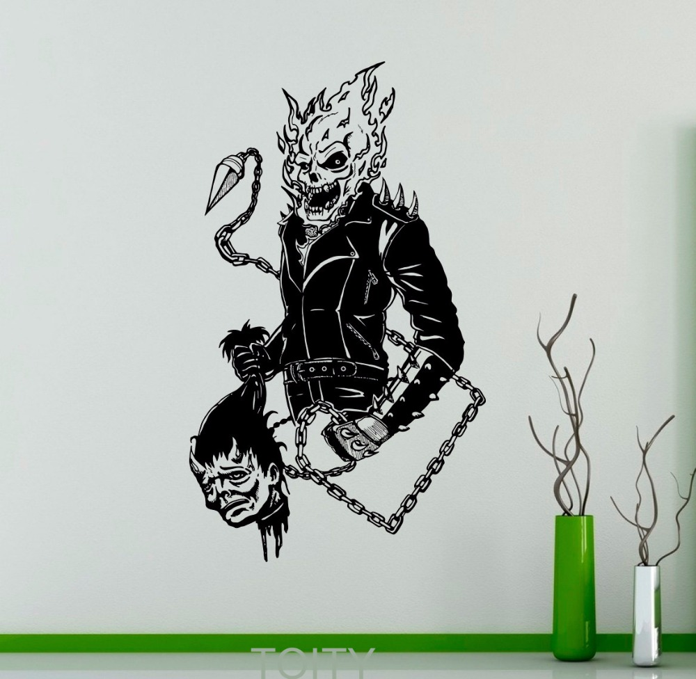 Ghost rider mur autocollant comics antihéros vinyle decal crâne flamboyant intérieur de la maison creative affiche graphique chambre décor dans stickers