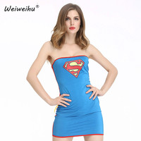 Women Costume Fancy Dress Role Play Costume Superman Cosplay Clothing Sexy Miniskirt