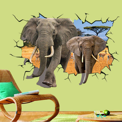 Hot 3D elephant sea world Vinyl Decal wallpaper mural decoration room can be removed-in Wall ...