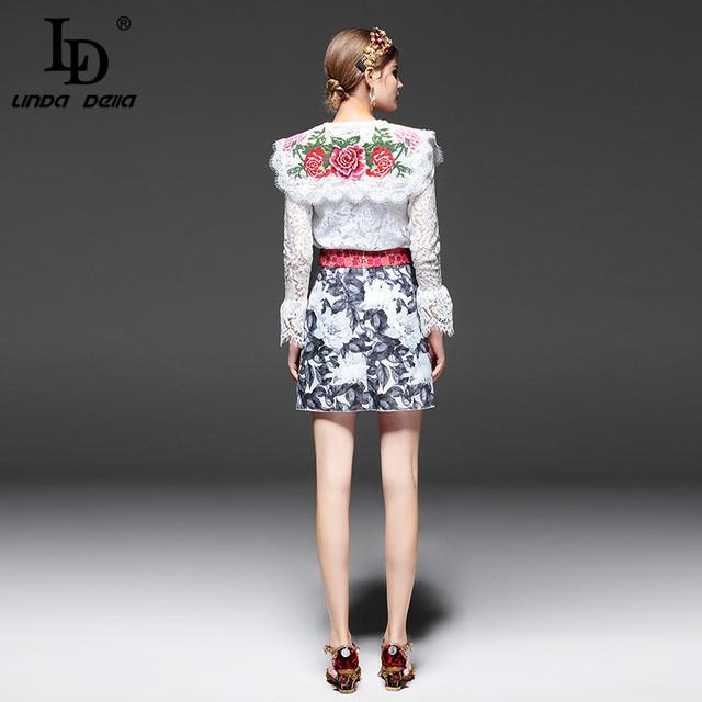 Sets Suit 2 Piece Women Floral Embroidery Lace Tops + Short Skirt Suit Set