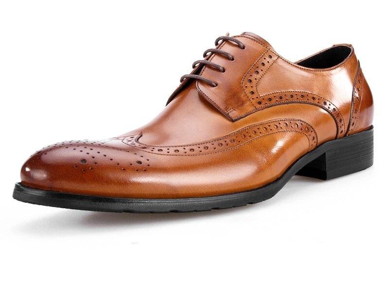 Grande taille EUR45 Tan/noir/marron Oxfords hommes chaussures de mariage en cuir véritable bout pointu chaussures habillées hommes chaussures d'affaires