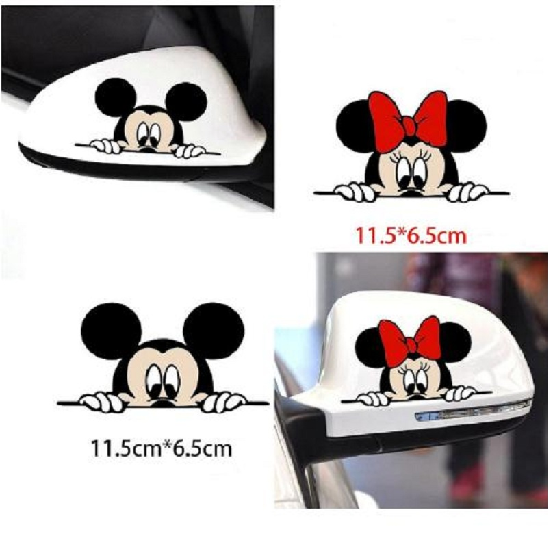 Funny Car Sticker Cute Mickey Mouse Peeping Cover Scratches Cartoon Window Decal for Motorcycle Volkswagen Bmw E46 Ford Focus