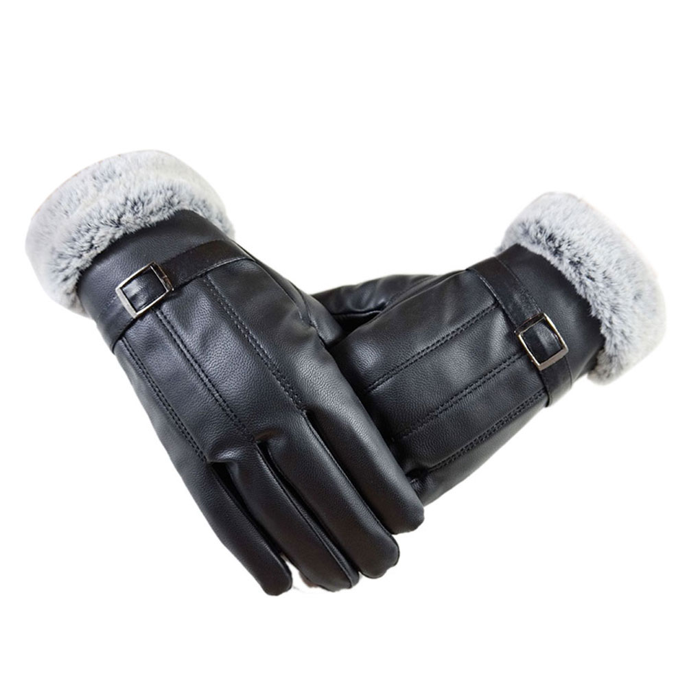 Mens leather gloves rabbit fur lined - Gants Femme Winter Gloves Men Faux Leather Gloves Fashion Warm Rabbit Fur Mittens Hand Warmer 1
