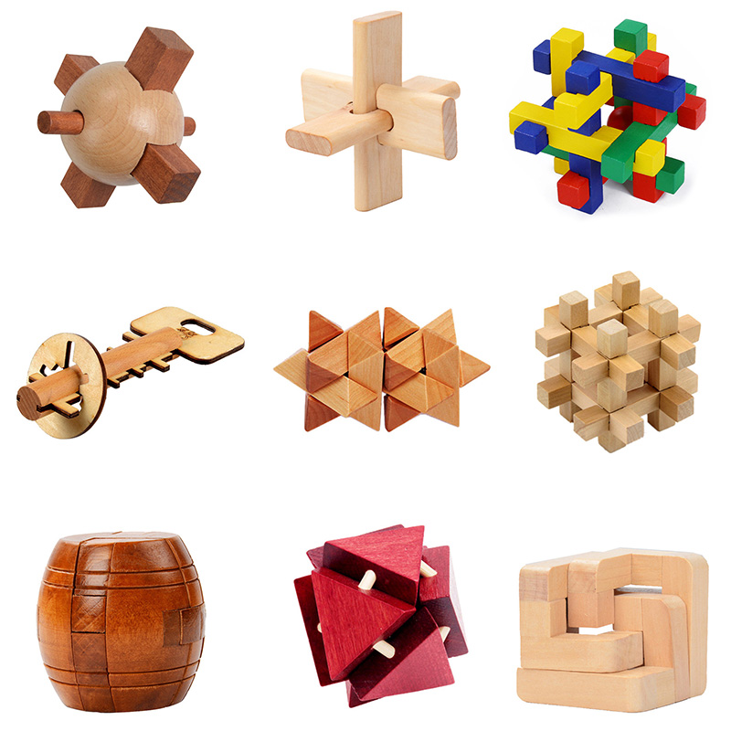 Lu Ban 3D Lock Kong Ming Chinese Traditional Toys Wooden Building Classical Disassembly Handmade Vintage Puzzle Toys