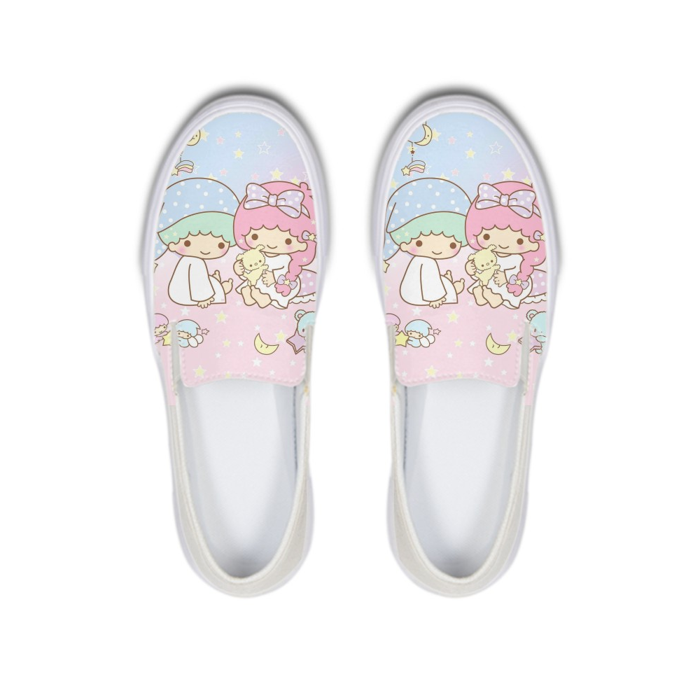 Cartoon Little Twin Stars Kiki Lala Cusual Women Canvas Shoes Girls Slip On Flats Loafers Platform