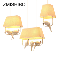 ZMISHIBO Country Style E27 Pendant Lamp Square Beige Cloth Lamp Shade With Birds Pendant Lights For Bed Room Lighting Fixtures