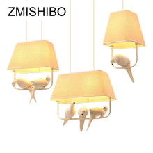 ZMISHIBO Country Style E27 Pendant Lamp Square Beige Cloth Shade With Birds Lights For Bed Room Lighting Fixtures