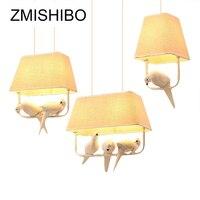 Zmisibo Кантри Стиль E27 подвесной светильник квадратная бежевая ткань абажур с птицами подвесные светильники для спальни осветительные прибор...