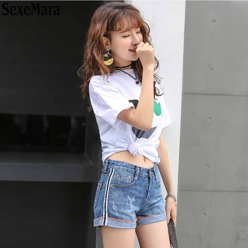 High Waist Jeans Real 2017 New Summer Leisure Style Fashion Temperament All-match Denim Shorts Female Slim Tide Flanging Ribbon