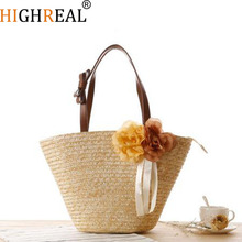 HIGHREAL New Rattan Woven Women Shuolder Bags Two Beautiful Flowers Straw Beach Handbags Design High-Quality Shopping Totes J135