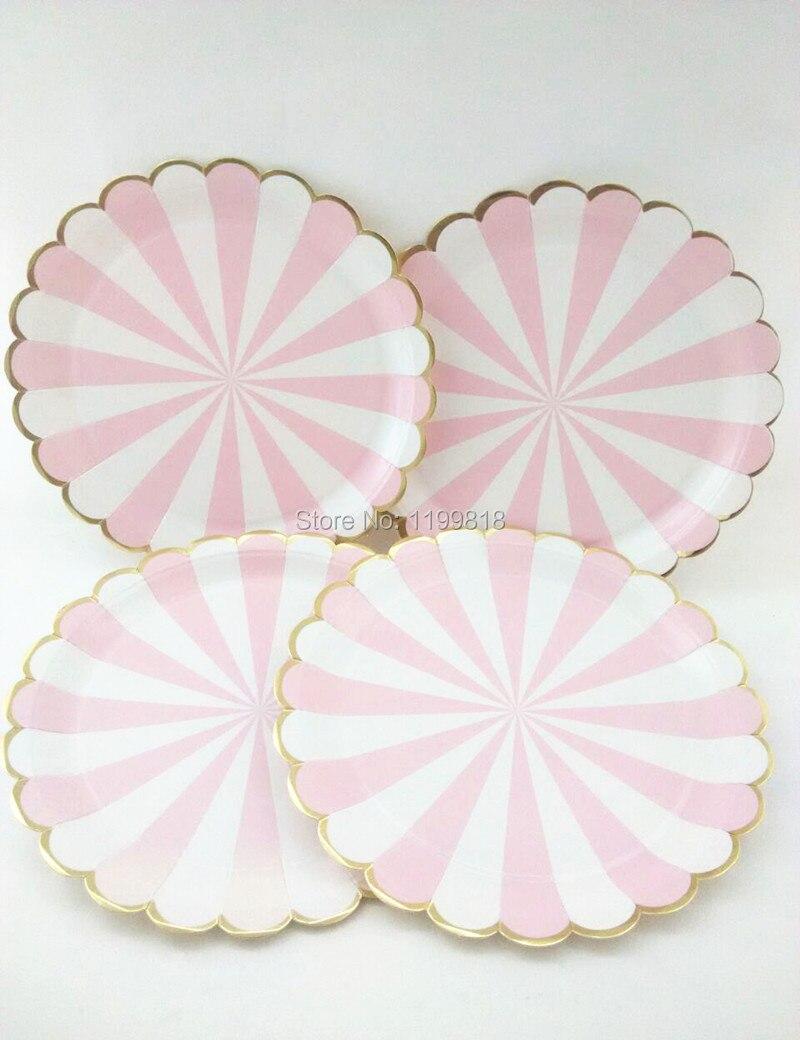 QQ20160707142319 QQ20160707142328 QQ20160707142324 & Disposable Paper Plates Foil Gold Pink Striped 40pcs for Wedding ...