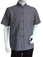 Short Sleeve Cotton Tang Suit Tops Men Kung Fu Shirts Tai Chi Uniform Summer Shirt Blouse