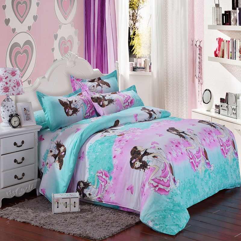 Bedding Set Princess Girl Kid Child Bed Linens Duvet Cover Pillow Case Flat Sheet Bedding Set Princess Girl Kid Child Bed Linens Duvet Cover Pillow Case Flat Sheet