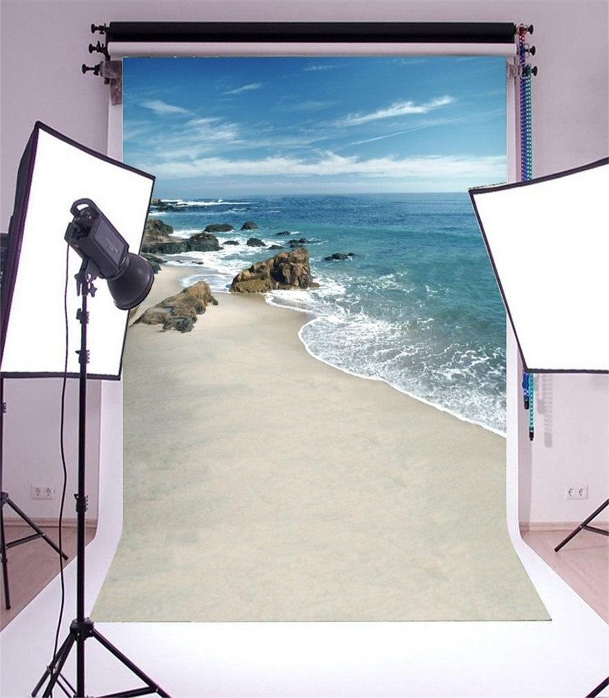 Photography Backdrop BeachSeaside Stone Rocks Waves Blue Sky White Cloud Nature Romantic Photo Background
