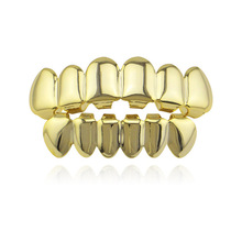 New Fashion Hip Hop Gold Teeth Grillz Top & Bottom Grills Dental Mouth Punk Caps Cosplay Party Tooth Rapper Jewelry Gift