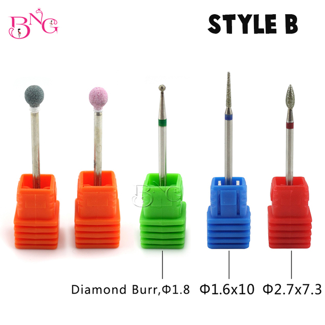 BNG 5ps set Carbide Nail Drill Bit Rotate Burr Cuticle Clean For Electric Machine Manicure Pedicure Tip Diamond Stone Naill File 2