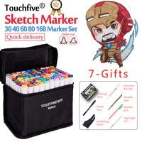 Touchfive 30 40 60 80 168Colors Dual Head Marker Pen Set Sketch Markers Brush Pen For