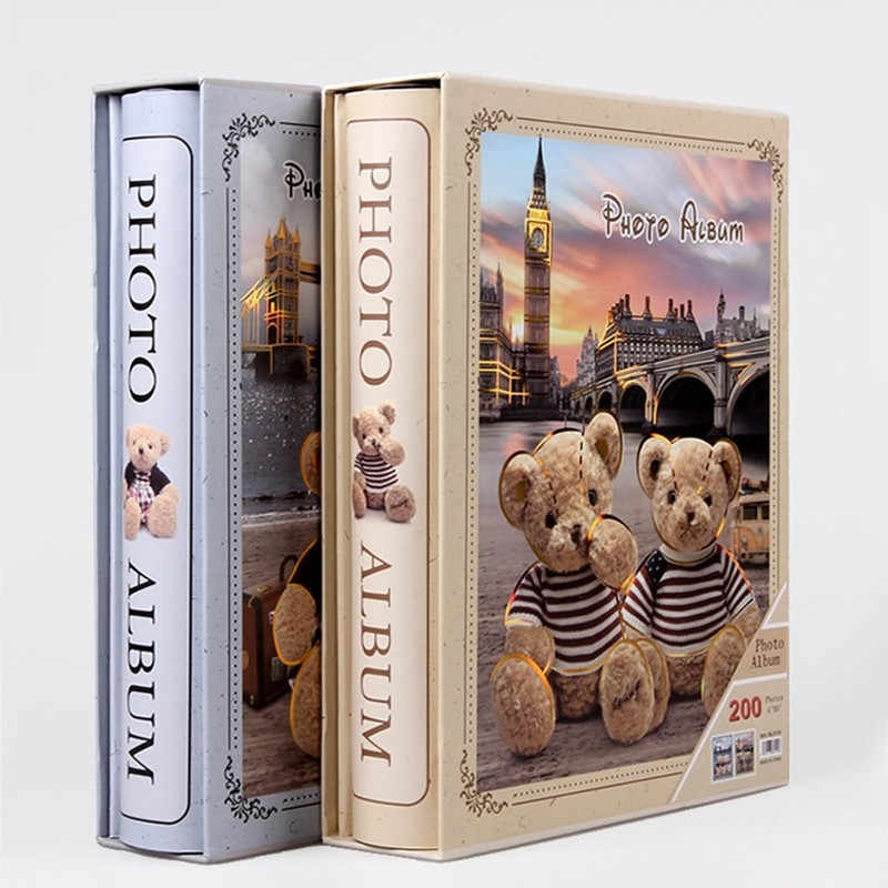 6 Inch 200 pocket Teddy Bear Photo Album Scrapbook Interleaf Type With Paper Cover Children Gift Album Home Decoration Albums