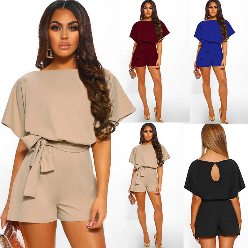 2019 Sexy Womens Solid O-Neck Short Sleeve Wide Leg Pants Short Jumpsuit Women Romper Clothes Summer L012